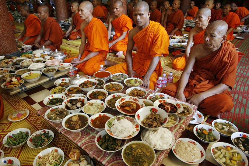 Food offering to monks